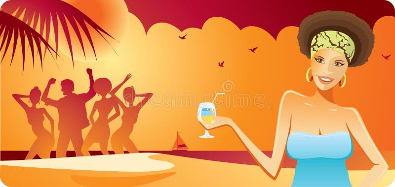 stranddeltagare stock illustrationer