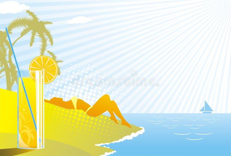 stranddrinken tycker om flickaexponeringsglas vektor illustrationer