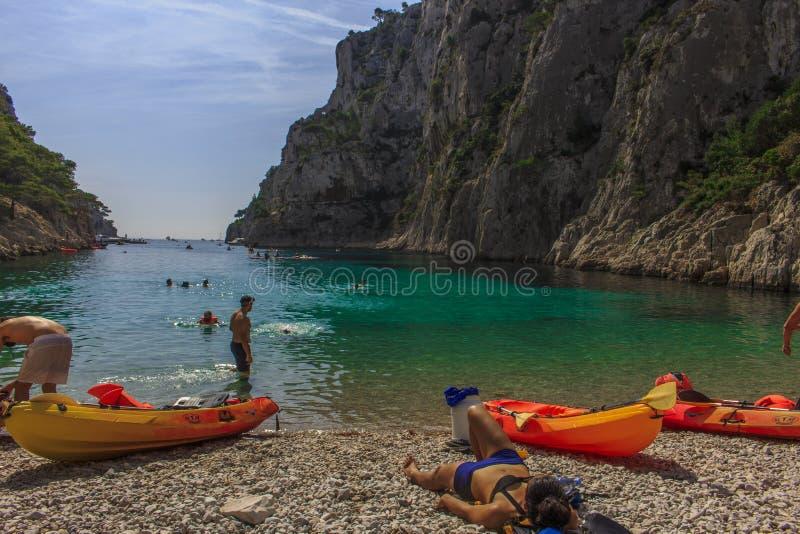 Stranden av En Vau Calanque royaltyfria foton