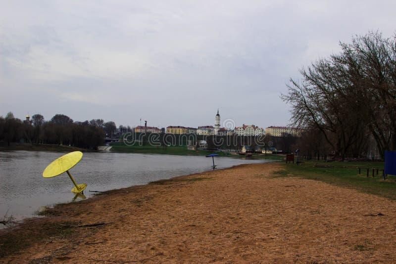 Stranden av staden av Mogilev i Vitryssland royaltyfria foton