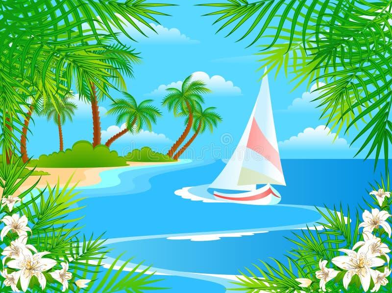 stranden blommar sommar vektor illustrationer