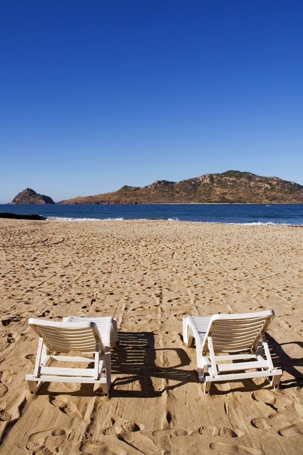 stranden chairs hjortframsidaön mazatlan mexico royaltyfria bilder