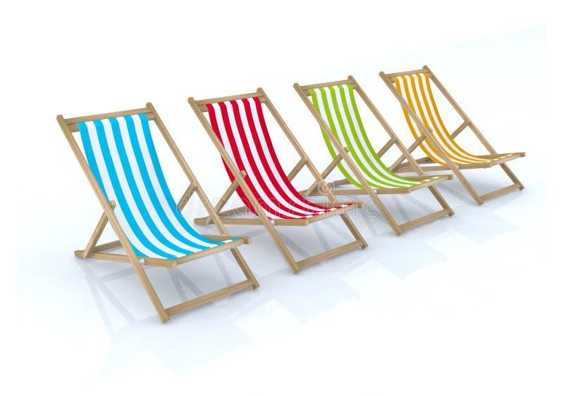 stranden chairs olikt trä för färger royaltyfri illustrationer