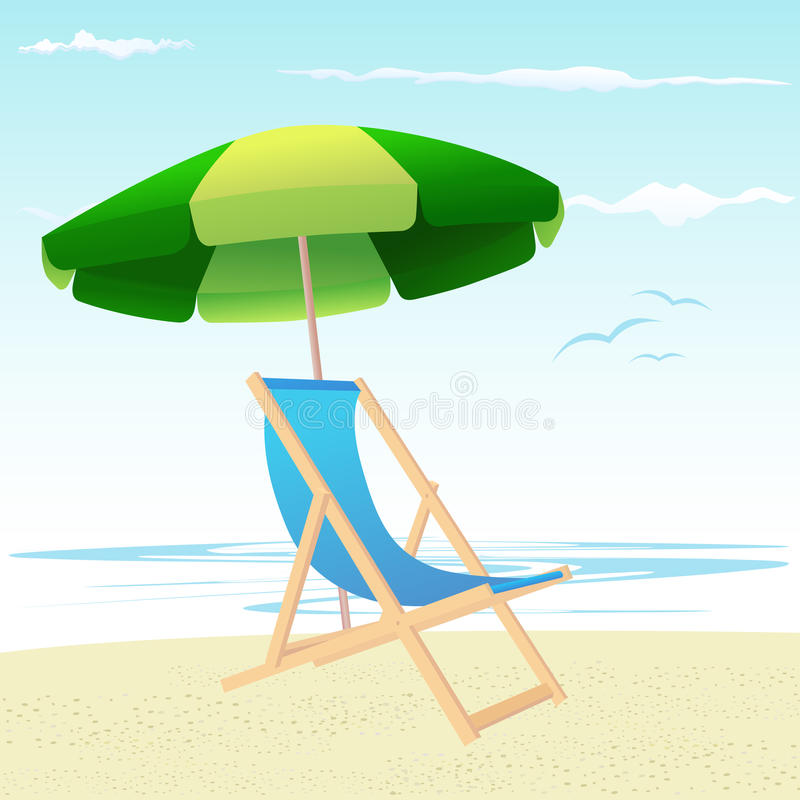 stranden chairs paraplyet royaltyfri illustrationer