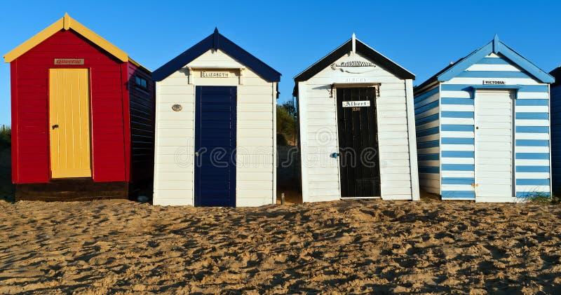 stranden förlägga i barack kunglig southwold royaltyfri fotografi
