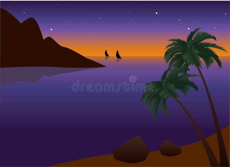 stranden gömma i handflatan den tropiska solnedgången royaltyfri illustrationer