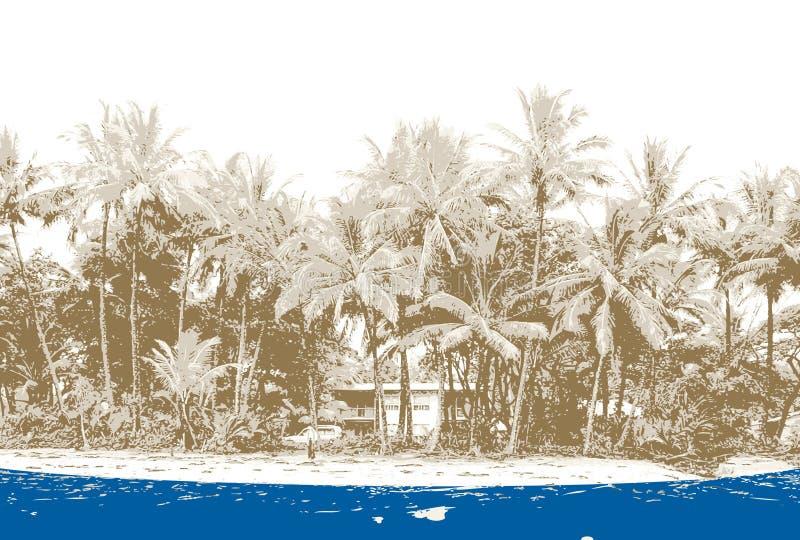 stranden gömma i handflatan vektorn royaltyfri illustrationer