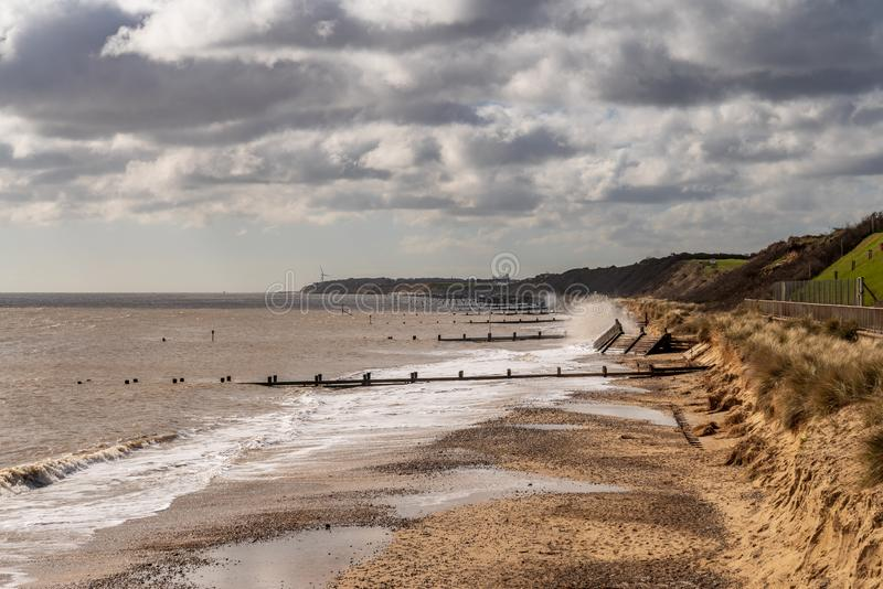 Stranden i Gorleston-på-havet, Norfolk, England, UK royaltyfri foto