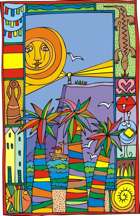 stranden kopplar av royaltyfri illustrationer