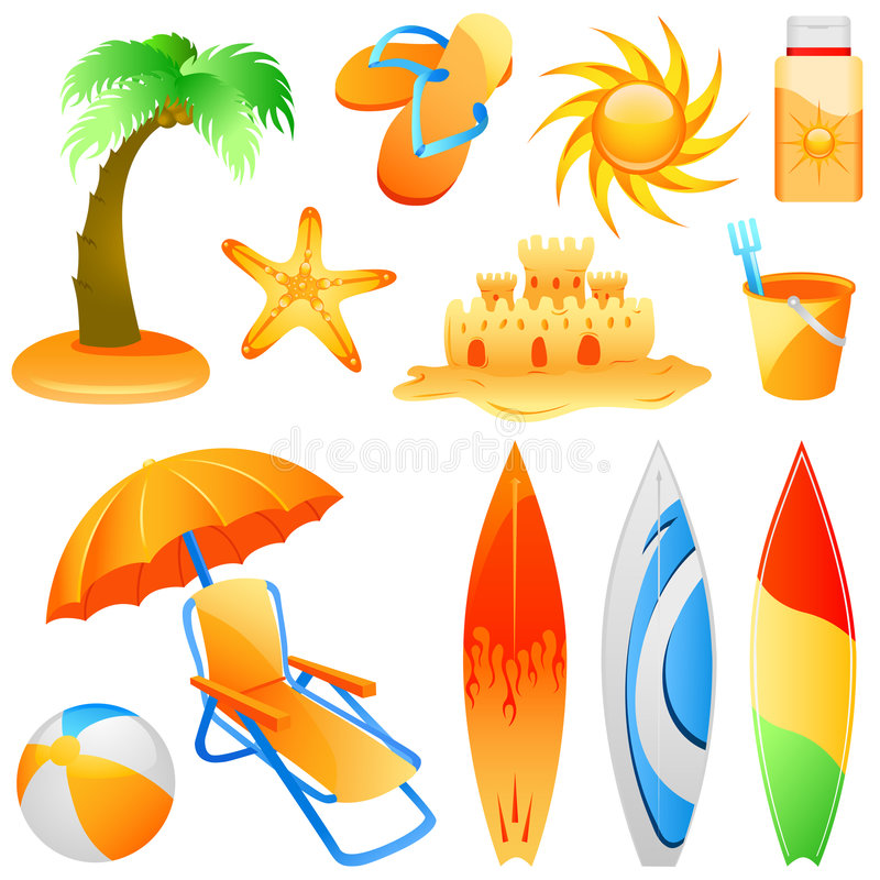 stranden objects vektorn royaltyfri illustrationer