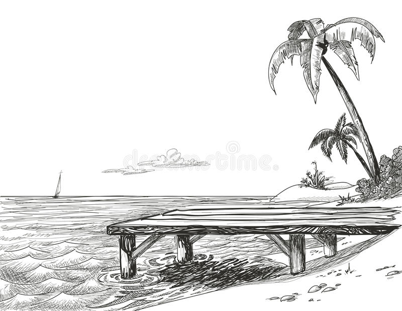 stranden skissar stock illustrationer