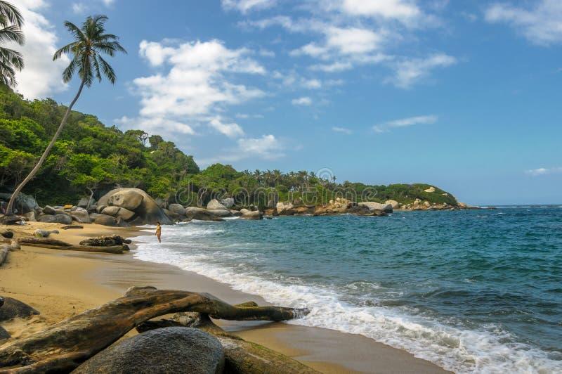 Stranden van het nationale park van Tayrona, Colombia royalty-vrije stock foto