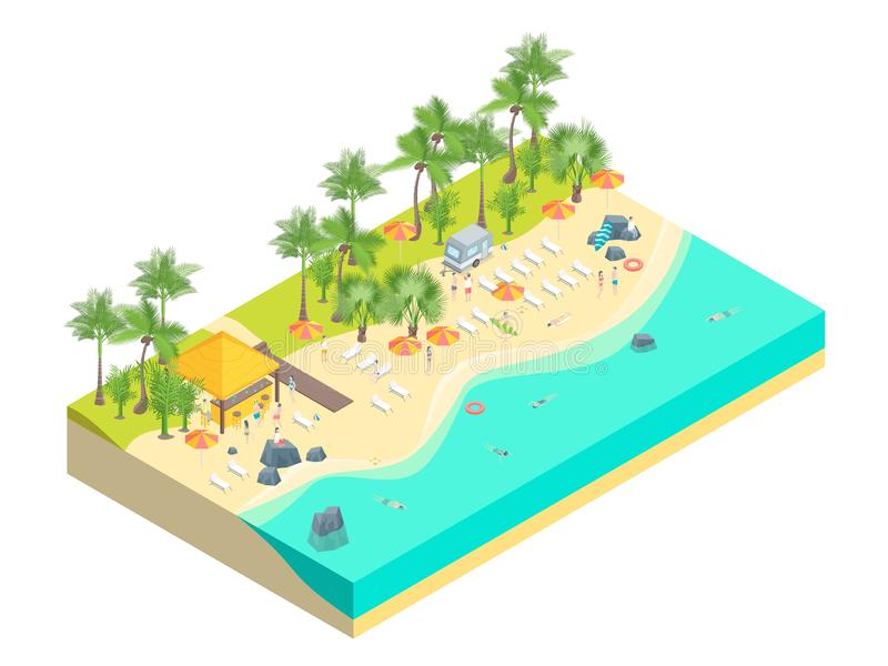 Stranden vilar isometrisk sikt för begrepp 3d vektor stock illustrationer