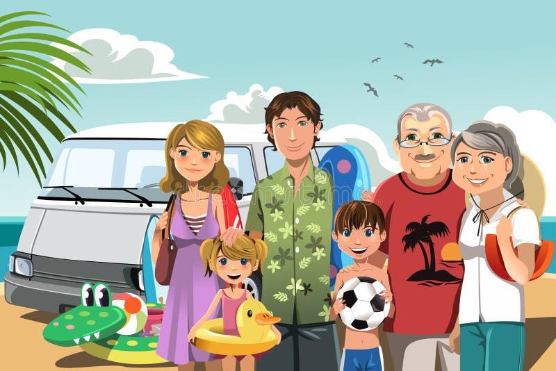 strandfamiljsemester royaltyfri illustrationer