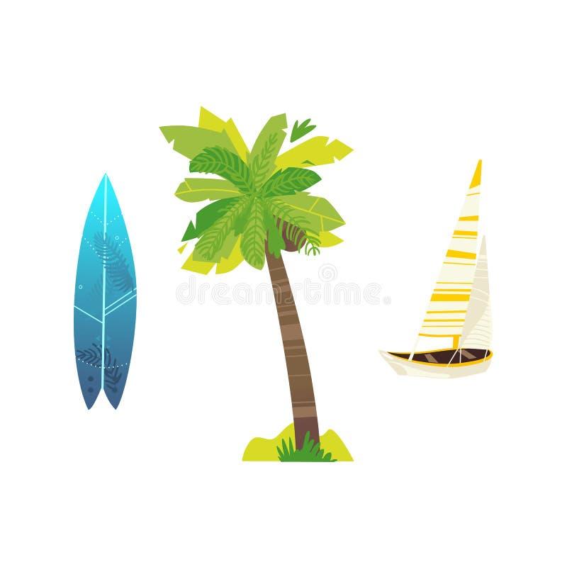 Strandferien-Symbolikone des Vektors flache reisende stock abbildung