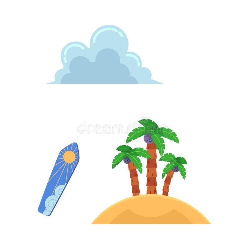 Strandferien-Symbolikone des Vektors flache reisende lizenzfreie abbildung
