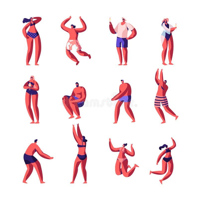 Strandfest, das männlich-weiblichen Charakter-Satz sich entspannt Männer und Frauen in den Schwimmen-Klagen die Cocktails, Sommer stock abbildung