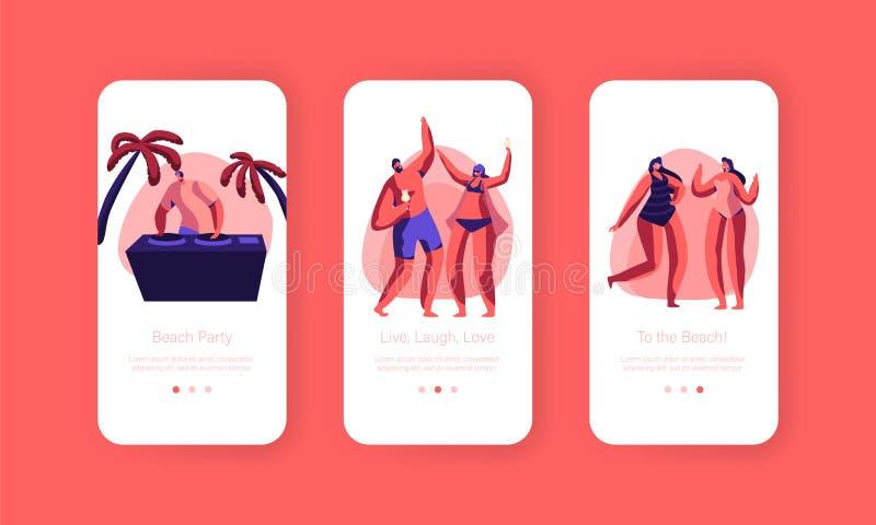 Strandfest-Sonnenuntergang-Ferien-Party bewegliche App-Seite an Bord des Schirm-Satzes Tropische Verein-DJ-Spiel Musik für Leute- stock abbildung