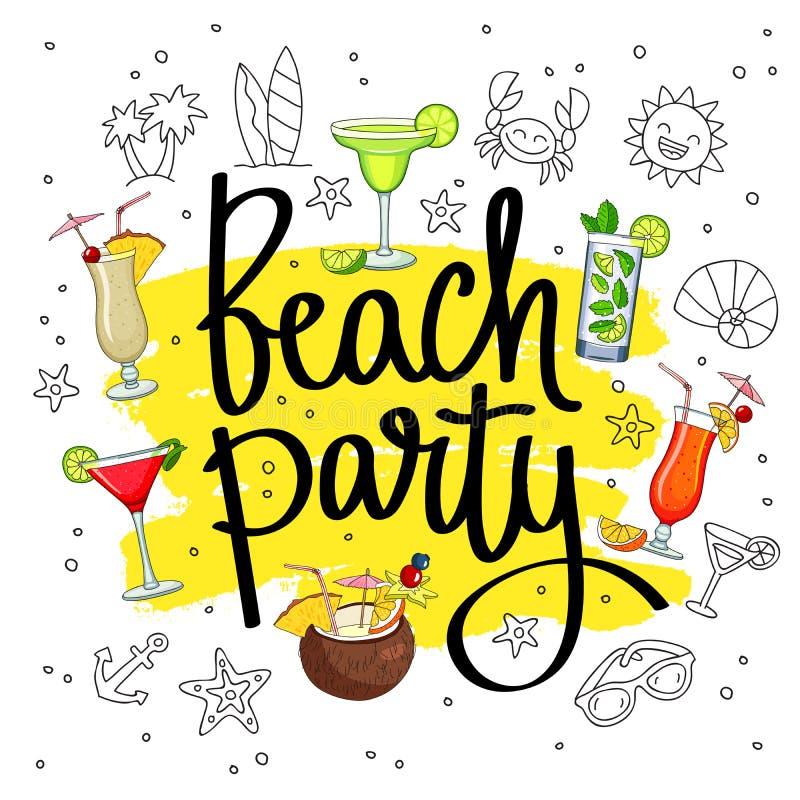 Strandfest umgeben von den verschiedenen Cocktails und von den Sommerikonen lizenzfreie abbildung
