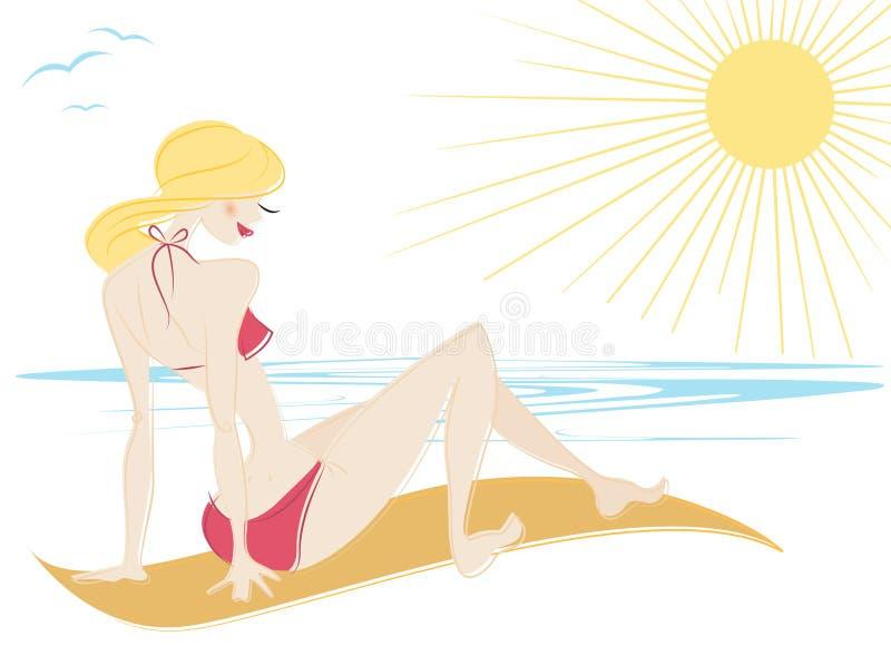 strandflicka royaltyfri illustrationer