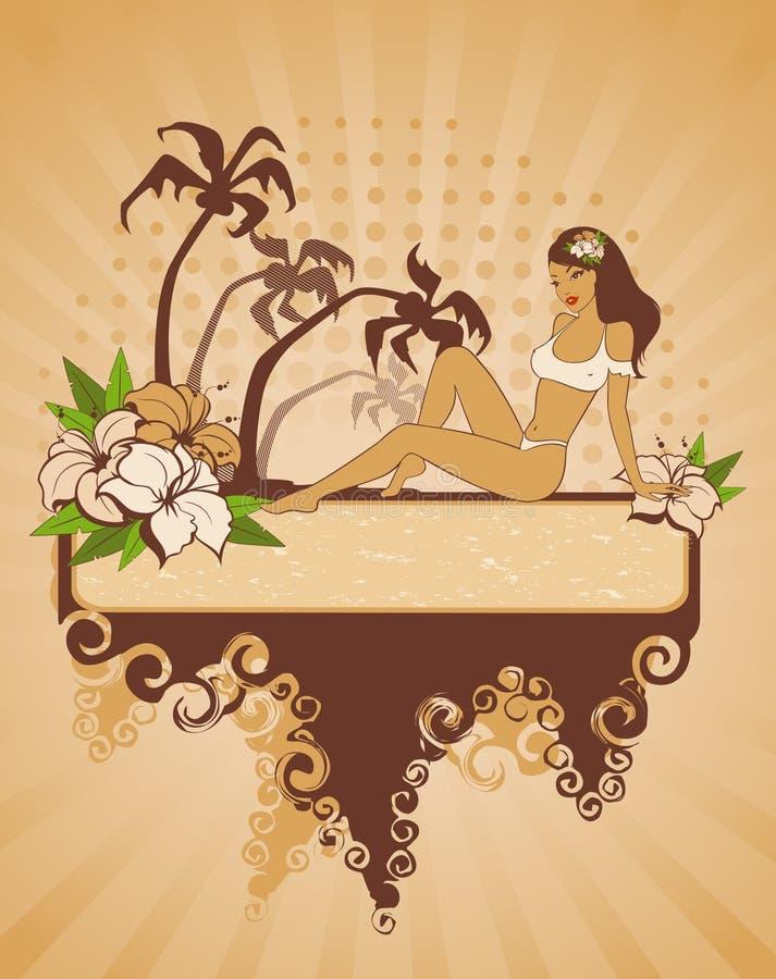 strandflickasommar royaltyfri illustrationer
