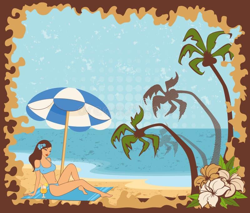 strandflickasommar vektor illustrationer