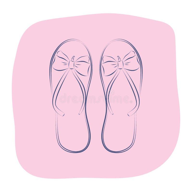 Strandflipmisslyckanden med en pilbåge Sommarmodetillbehör Konturobjekt på en rosa bakgrund Vektorn skissar illustrationen royaltyfri foto