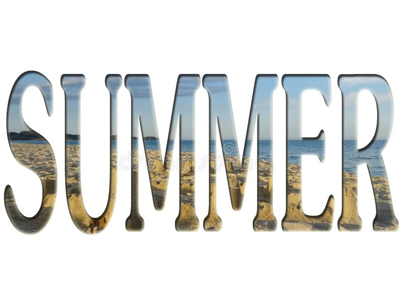 Strandfoto binnen het de zomerwoord royalty-vrije stock foto