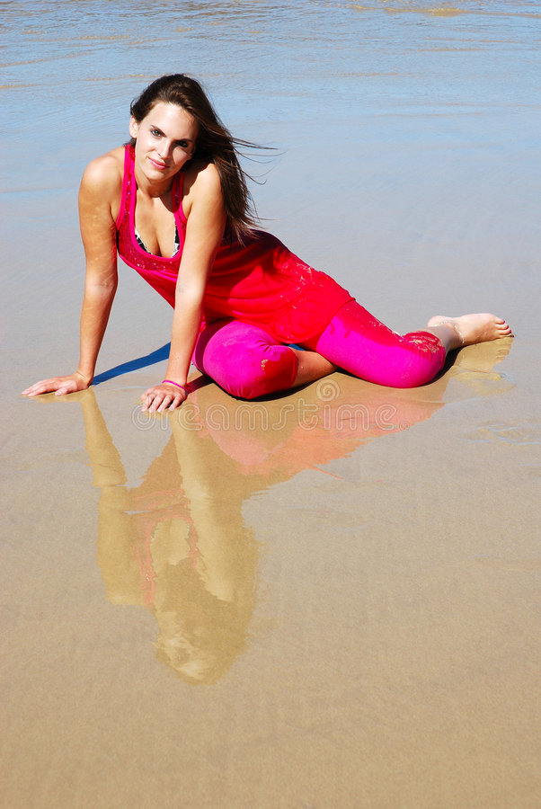 Strandfrauenbaumuster lizenzfreies stockbild