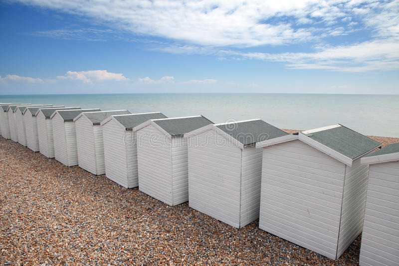 Strandhütte-Küstechalet England stockfoto