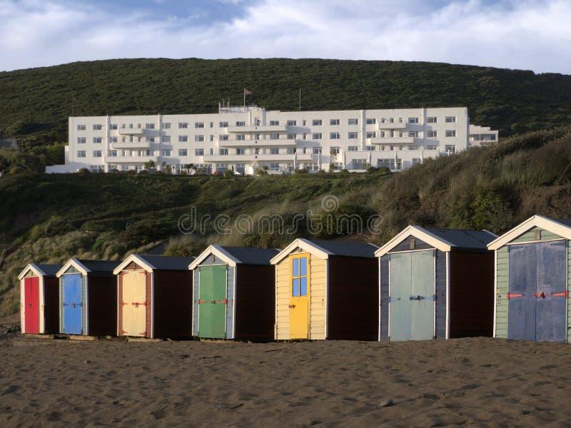 Strandhütten saunton versandet Devon stockfotografie