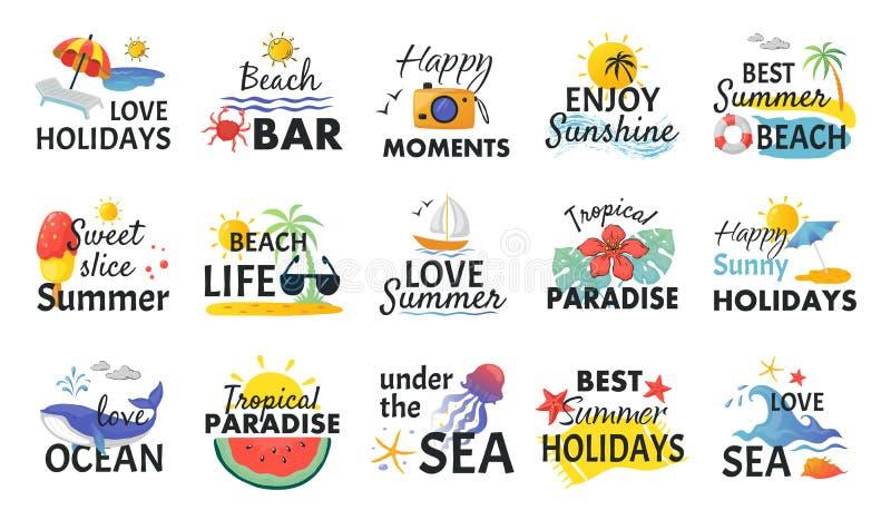 Strandhand getrokken stickers De etiketten van de de zomervakantie met het van letters voorzien en tropische elementen, zongolven royalty-vrije illustratie