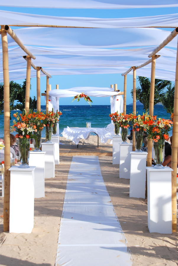 strandhavsbröllop royaltyfri foto