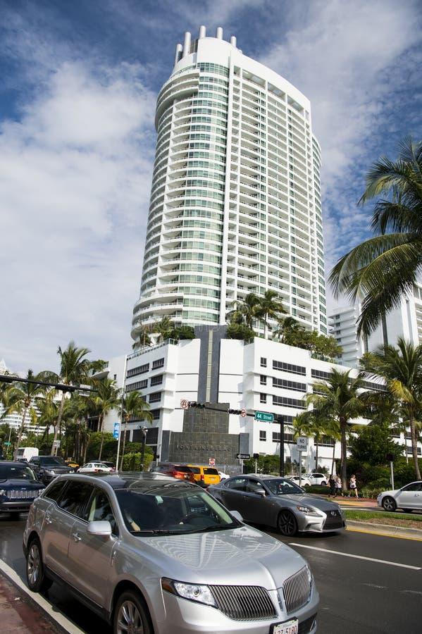 strandhotell miami arkivbild