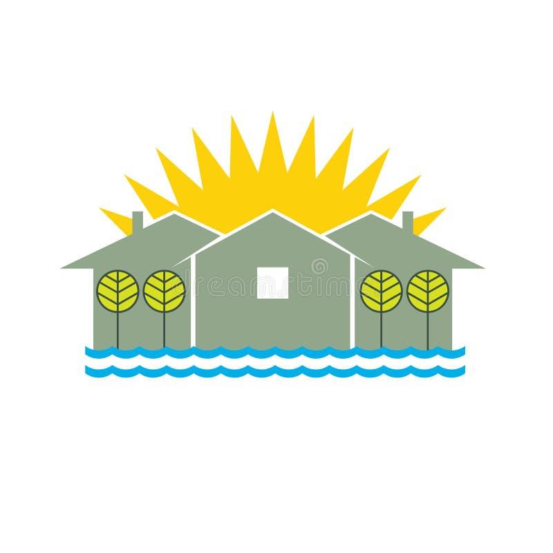 strandhuslogo vektor illustrationer
