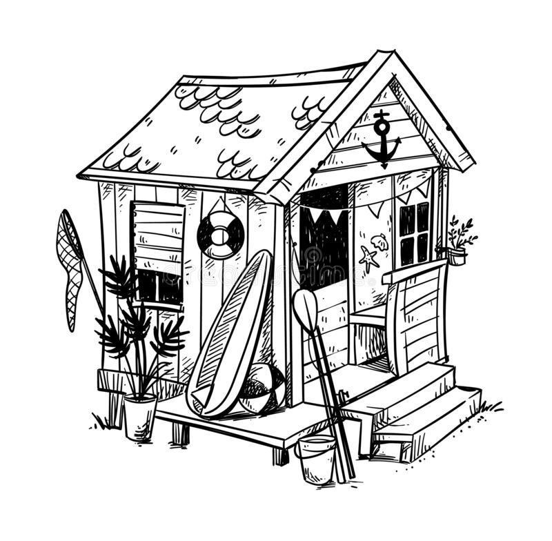 Strandhut, comfortabel vakantiehuis bij de strand vectorillustratie vector illustratie