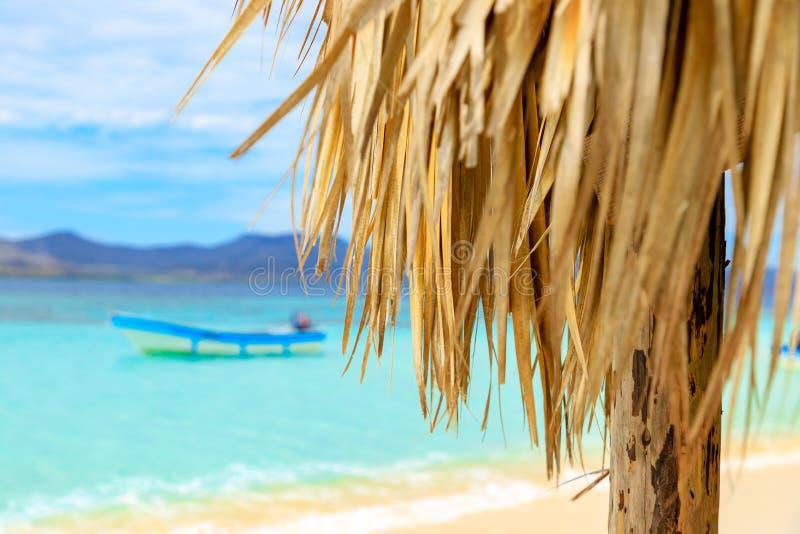 Strandhut met palmdak op het strand Paradise-Eiland, Dominica stock foto