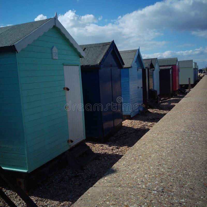 Strandhutten in Essex, Engeland stock fotografie