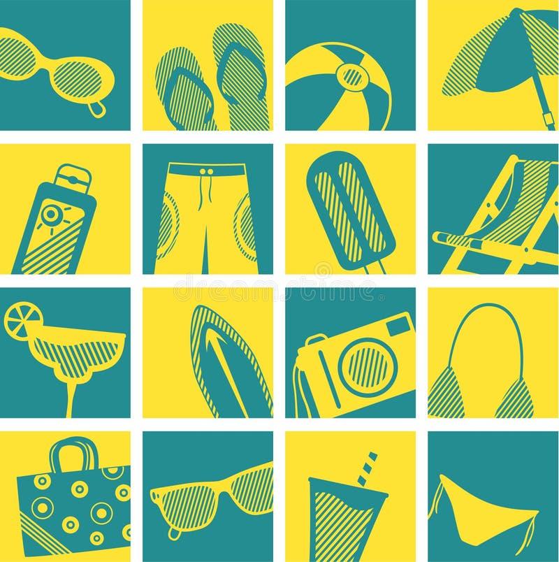 strandillustrationlivstid stock illustrationer