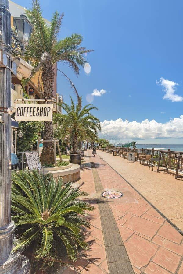 Strandküste gezeichnet mit Palmen der Verzerrungs-Küsten-, Eichenmode, der Depot-Insel-Küstengebäude und des Schiff-Hotels Campan stockfoto