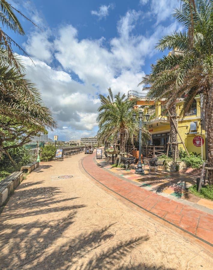 Strandküste gezeichnet mit Palmen der Verzerrungs-Küsten-, Eichenmode, der Depot-Insel-Küstengebäude und des Schiff-Hotels Campan stockfotografie