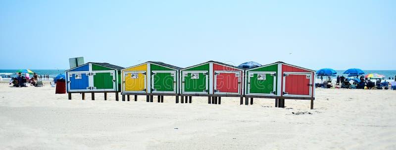 Strandkasten in Oerwoud NJ stock afbeelding