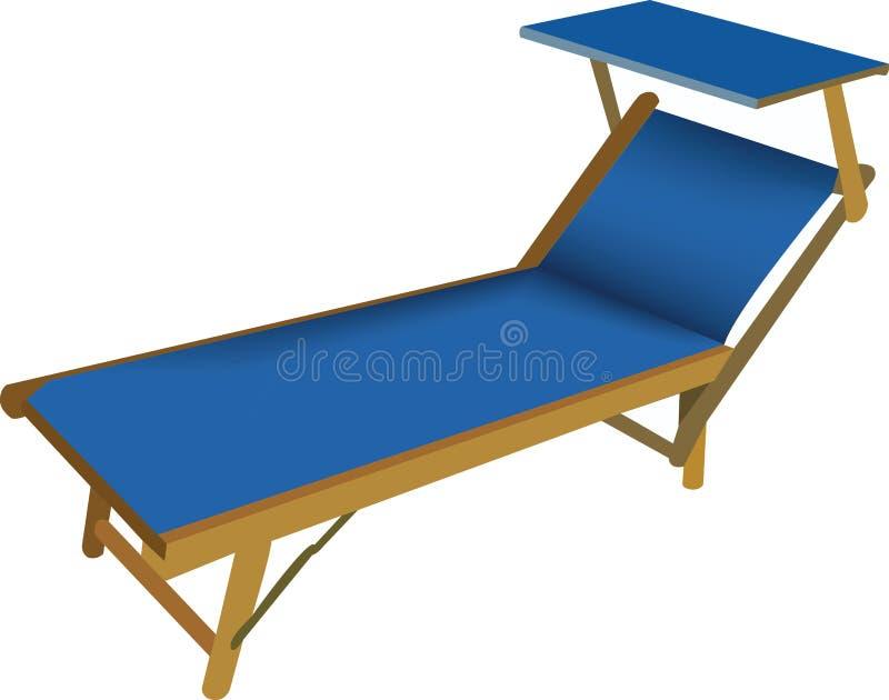 StrandKlappstuhl in der blauen Farbe lizenzfreie abbildung