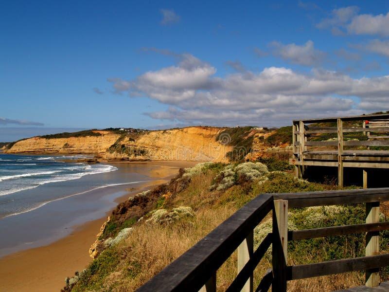 strandklockaboardwalk fotografering för bildbyråer