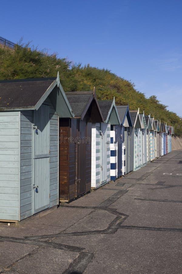 Strandkojor på Pakefield, Suffolk, England arkivfoto