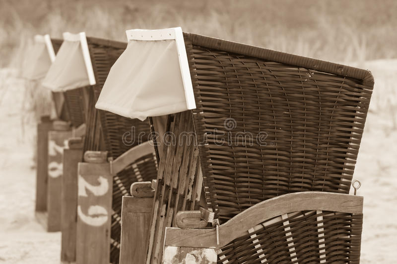 Strandkorb, Strandkoerbe, beach chairs. Strandkorb, Beach chairs on beach at Binz seaside resort on Rugen Island in Germany stock photography