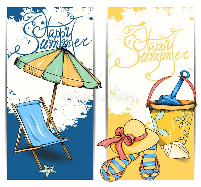 Strandkort stock illustrationer