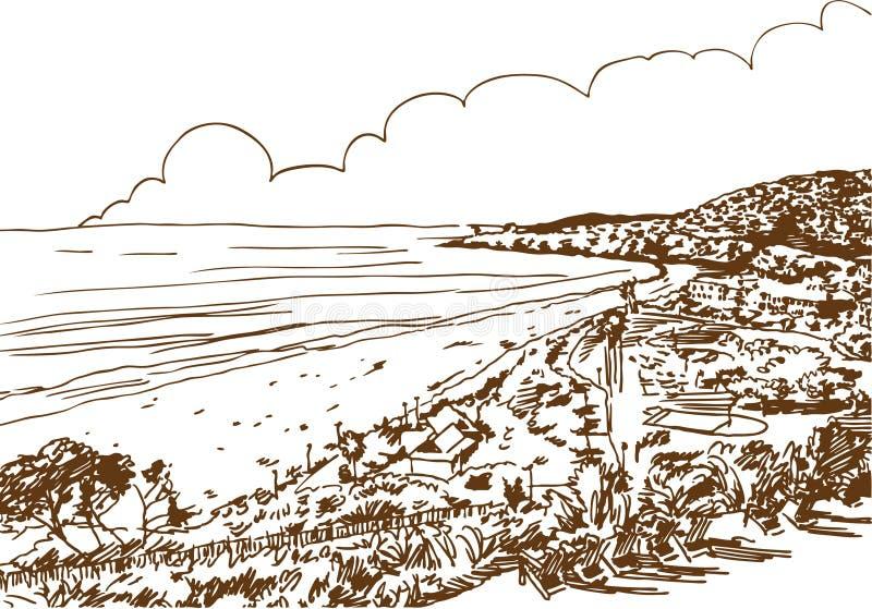 strandkusten skissar vektor illustrationer
