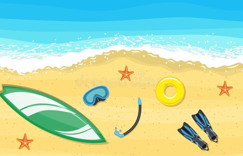 Strandlandschap met de sc?ne van de brandingsraad vector illustratie