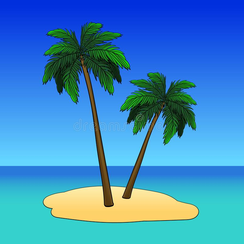 Strandliege unter Palme Sommerferien in den Tropen Auch im corel abgehobenen Betrag lizenzfreie abbildung